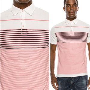 NWT Mens Polo shirt coral pink stripes button
